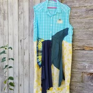 Boho Vintage Floral Patchwork ShirtDress Upcycled